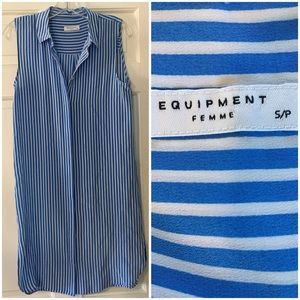 Equipment Blue White Button Front Dress Tunic S